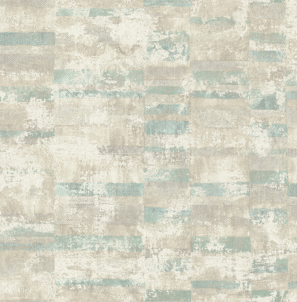 Sample Gutenberg Wallpaper in Greens and Neutrals from the Metalworks Collection by Seabrook Wallcoverings