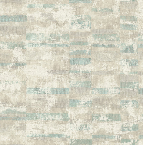 Gutenberg Wallpaper in Greens and Neutrals from the Metalworks Collection by Seabrook Wallcoverings