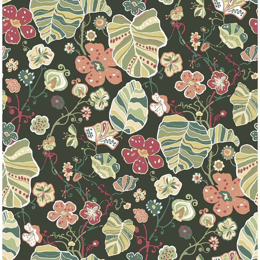Sample Gwyneth Floral Wallpaper in Dark Green from the Bluebell Collection by Brewster Home Fashions