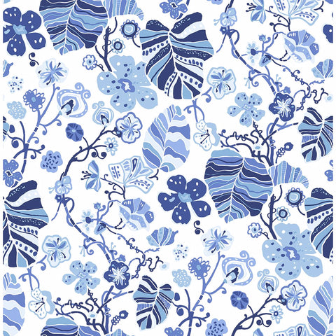 Gwyneth Floral Wallpaper in Indigo from the Bluebell Collection by Brewster Home Fashions