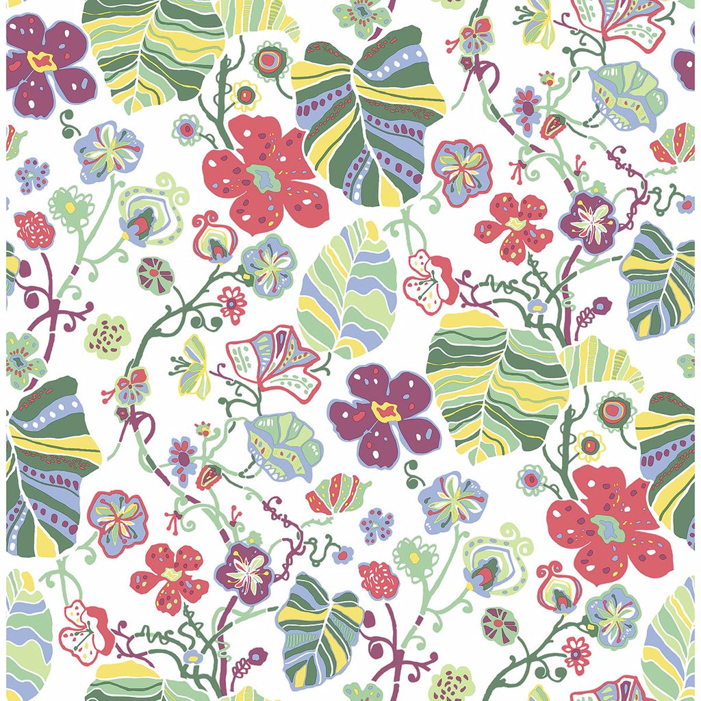 Sample Gwyneth Floral Wallpaper in Multicolor from the Bluebell Collection by Brewster Home Fashions