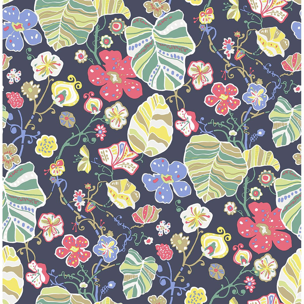 Sample Gwyneth Floral Wallpaper in Navy from the Bluebell Collection by Brewster Home Fashions