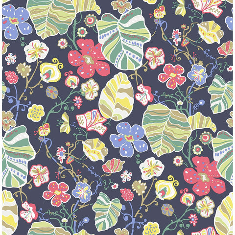 Gwyneth Floral Wallpaper in Navy from the Bluebell Collection by Brewster Home Fashions
