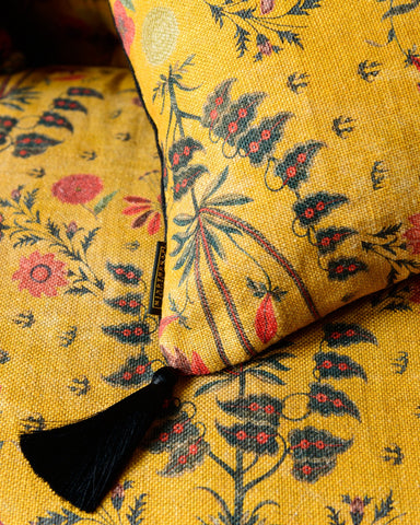 Gypsy Ochre Linen Fabric in Yellow by Mind the Gap