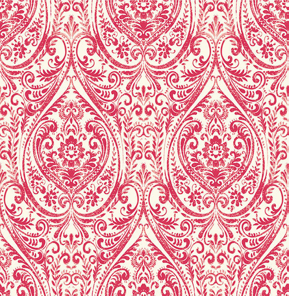 Gypsy Red Damask Wallpaper from the Kismet Collection by Brewster Home Fashions