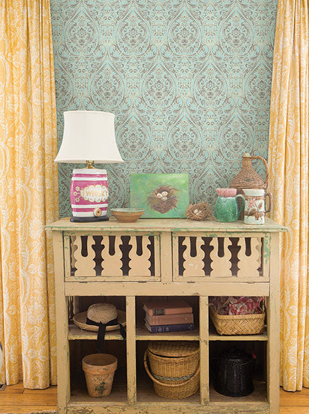 Gypsy Turquoise Damask Wallpaper from the Kismet Collection by Brewster Home Fashions