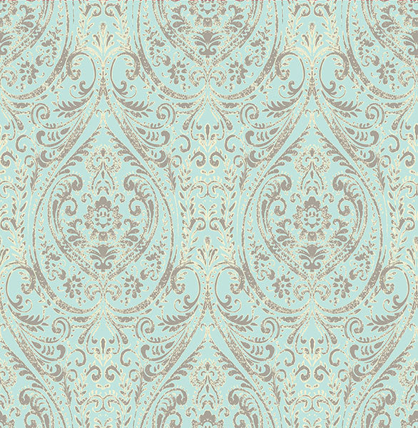 Sample Gypsy Turquoise Damask Wallpaper from the Kismet Collection by Brewster Home Fashions