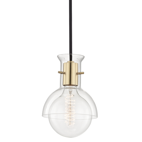 Riley 1 Light Pendant With Glass by Mitzi