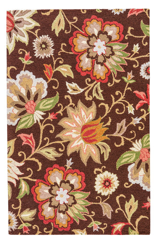 Zamora Floral Rug in Slate Black & Ketchup design by Jaipur
