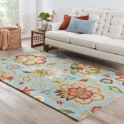 Zamora Floral Rug in Slate & Aragon design by Jaipur