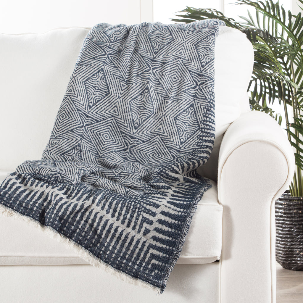Hamlin Throw in Vaporous Gray & Dress Blues design by Jaipur