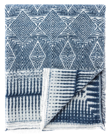 Lana Indigo & White Geometric Throw