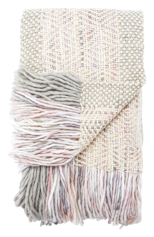 Quilla Light Gray & Cream Textured Throw