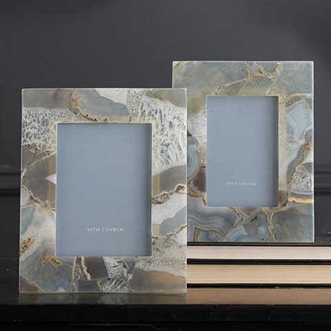 Set of 2 Natural Agate Photo Frames in Gift Box Includes 2 Sizes design by Tozai