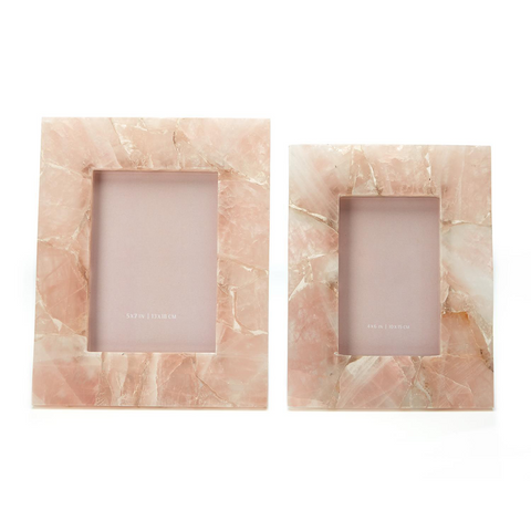 Set of 2 Pink Quartz Photo Frames in Gift Box Includes 2 Sizes design by Tozai