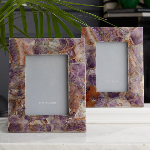 Set of 2 Amethyst Photo Frames in Gift Box Includes 2 Sizes