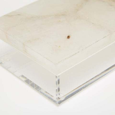 Set of 2 White Quartz Boxes