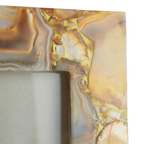 Amber Agate Set of 2 Photo Frames in Gift Box