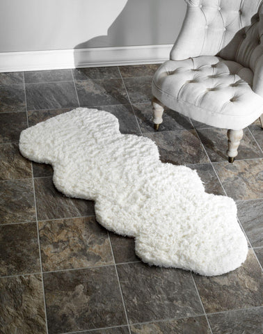 Hand Tufted One And A Half Piece Faux Sheepskin Rug in Natural design by NuLoom