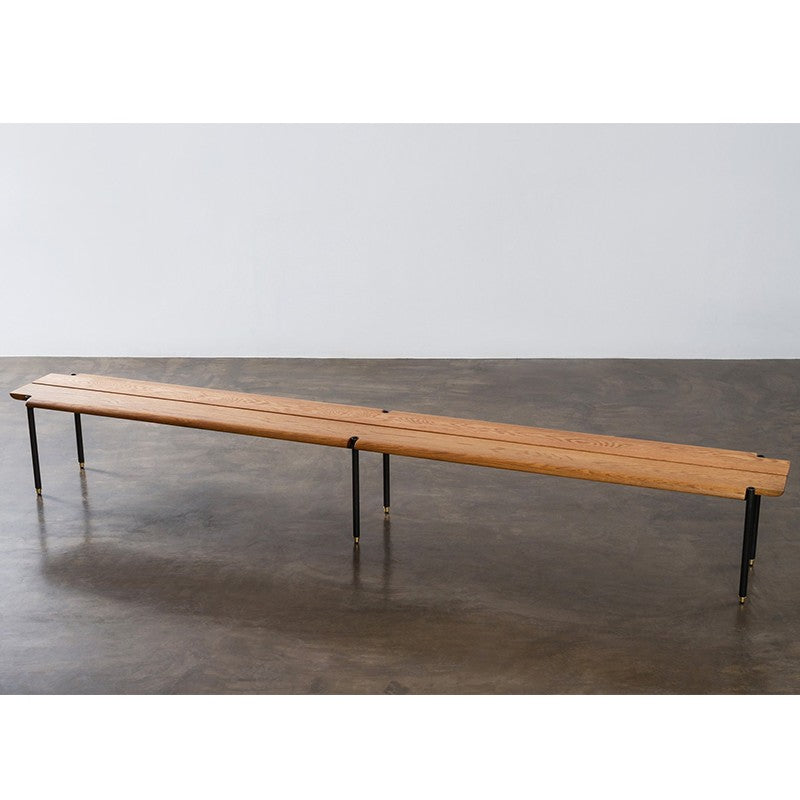 Large Stacking Bench in Hard Fumed Oak design by District Eight