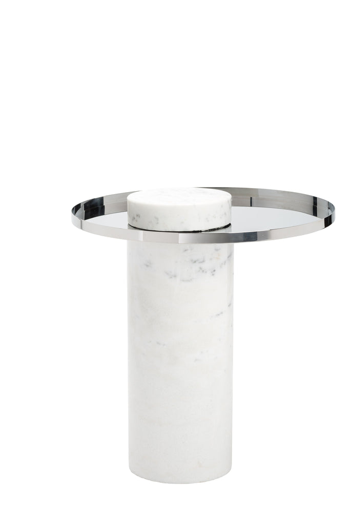 Pillar Side Table in Black Marble & Brushed Gold design by Nuevo