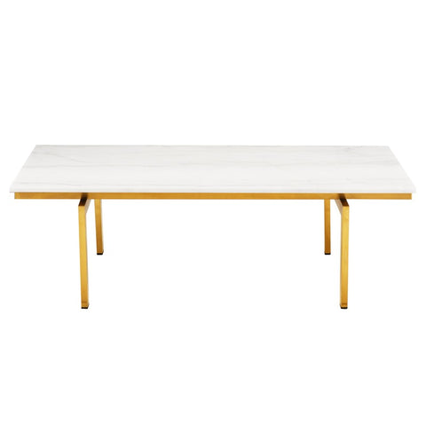 Louve Coffee Table in White w/ Brass Base design by Nuevo