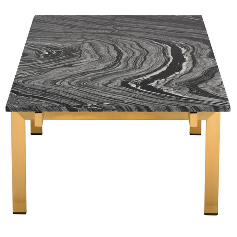 Louve Coffee Table in Black Wood Vein w/ Brushed Gold Base design by Nuevo