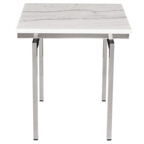 Louve Side Table in White w/ Brushed Stainless Steel Base design by Nuevo