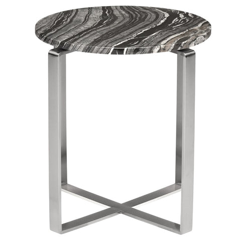 Rosa Side Table in Black Wood Vein w/ Polished Stainless Steel Base design by Nuevo