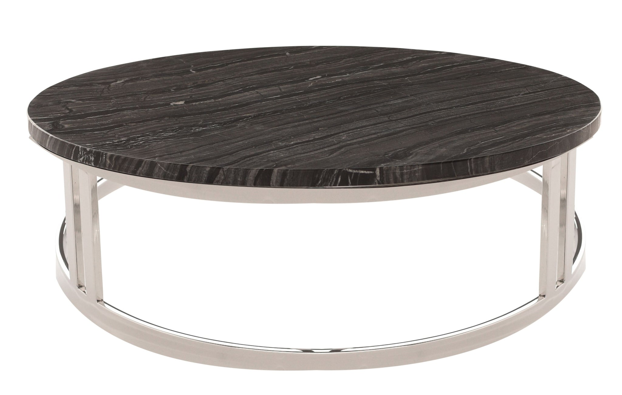 Nicola Coffee Table In Black Marble Polished Silver Design By - Nuevo marble coffee table