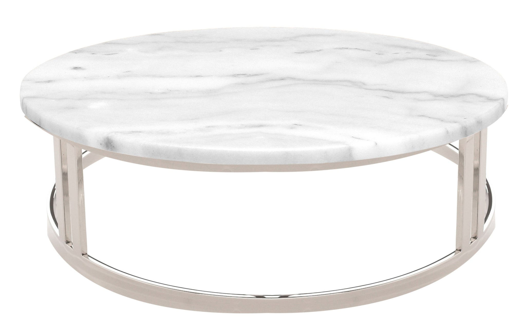 Nicola Coffee Table In White Marble Polished Silver Design By - Nuevo marble coffee table