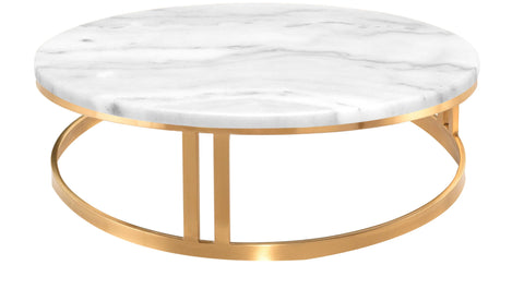 Nicola Coffee Table in White Marble & Brushed Gold design by Nuevo