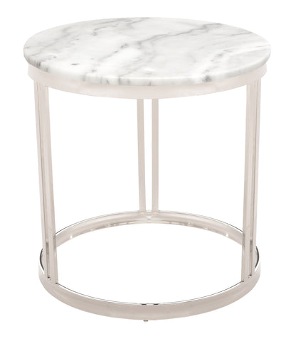 Nicola Side Table in White Marble & Polished Silver design by Nuevo