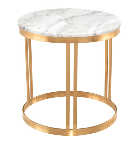 Nicola Side Table in White Marble & Brushed Gold design by Nuevo