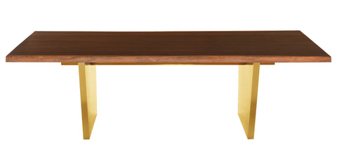Aiden Dining Table in Brushed Gold & Seared Oak in Various Sizes design by Nuevo