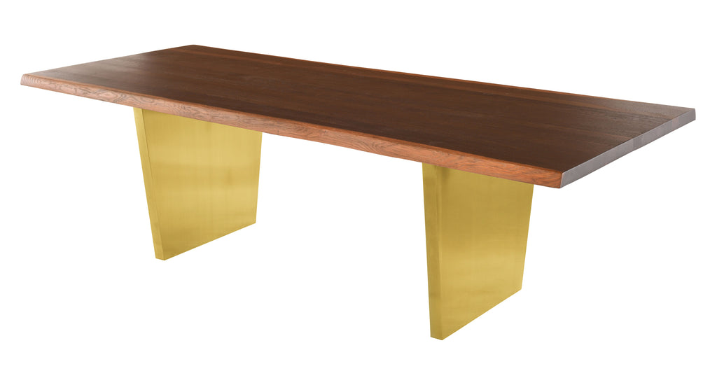 Aiden Dining Table in Brushed Gold & Seared Oak design by Nuevo