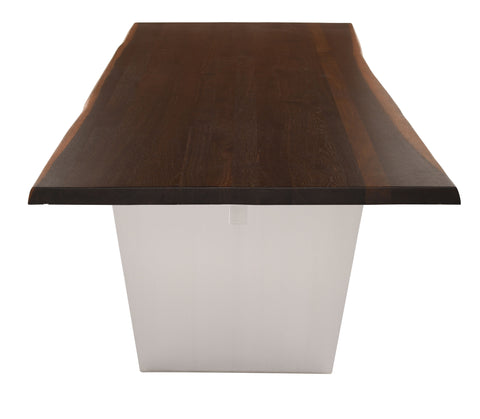 Aiden Dining Table in Brushed Stainless Steel & Seared Oak in Various Sizes design by Nuevo