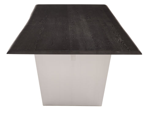 Aiden Dining Table in Brushed Stainless Steel & Oxidized Grey Oak in Various Sizes design by Nuevo