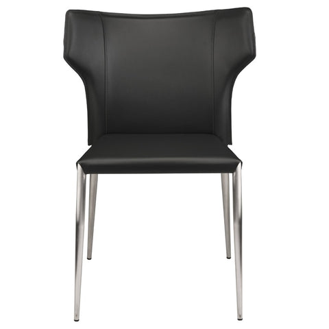Wayne Dining Chair in Black w/ Brushed Stainless Steel Legs design by Nuevo