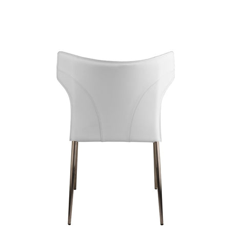 Wayne Dining Chair in White w/ Brushed Stainless Steel Legs design by Nuevo