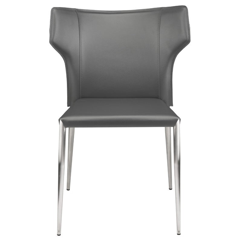 Wayne Dining Chair in Dark Grey w/ Brushed Stainless Steel Legs design by Nuevo