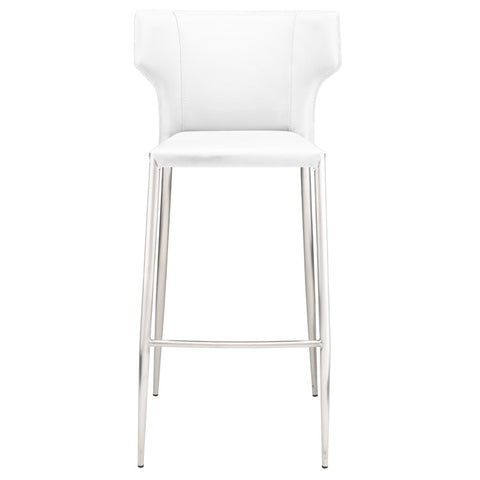 Wayne Bar Stool in White w/ Brushed Stainless Steel Legs design by Nuevo