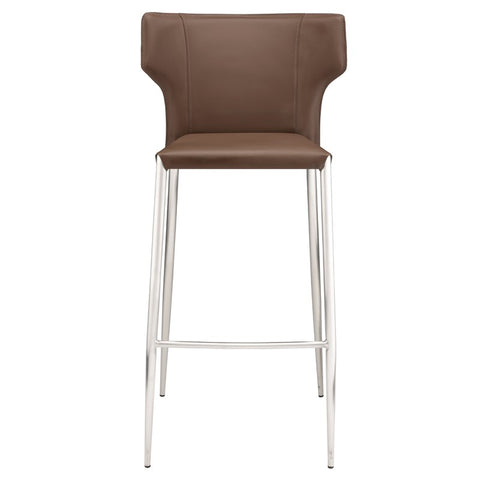 Wayne Bar Stool in Mink w/ Brushed Stainless Steel Legs design by Nuevo