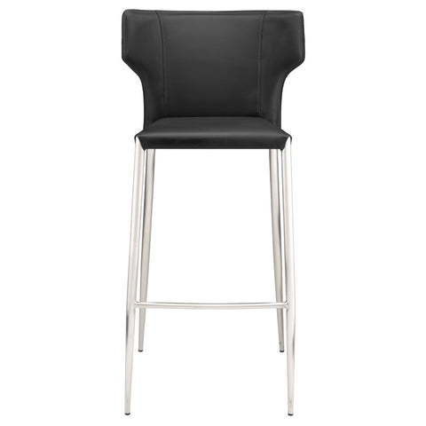 Wayne Counter Stool in Black w/ Brushed Stainless Steel Legs design by Nuevo