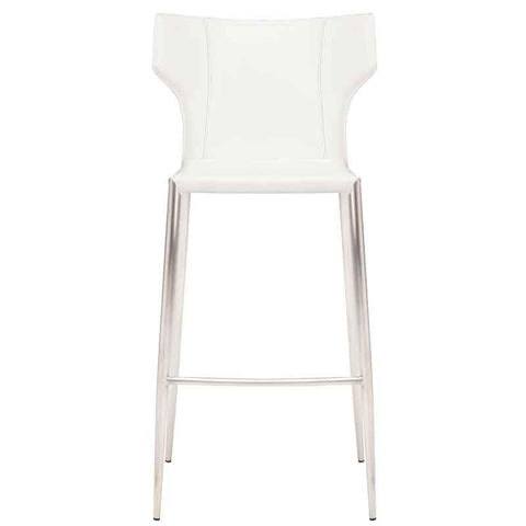 Wayne Counter Stool in White w/ Brushed Stainless Steel Legs design by Nuevo