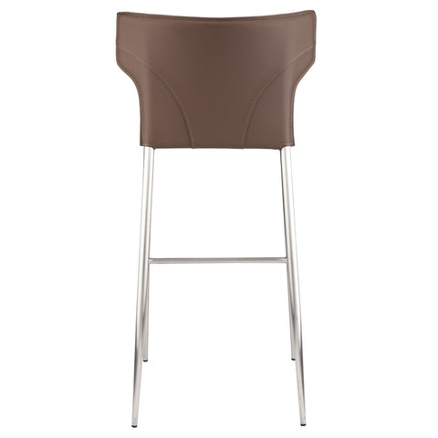Wayne Counter Stool in Mink w/ Brushed Stainless Steel Legs design by Nuevo