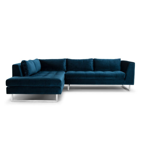 Janis Left Facing Sectional in Midnight Blue design by Nuevo