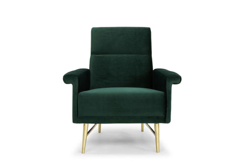 Mathise Occasional Chair in Emerald Green & Brushed Gold design by Nuevo
