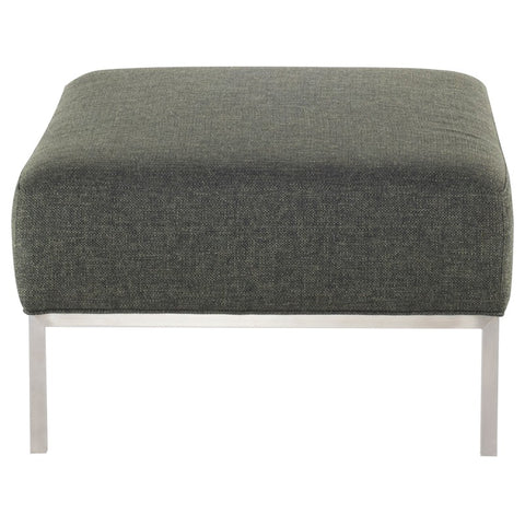 Bryce Ottoman in Hunter Green Tweed design by Nuevo