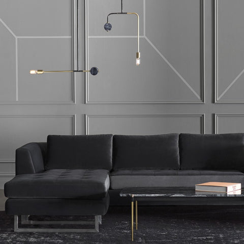 Janis Right Facing Sectional in Shadow Grey design by Nuevo
